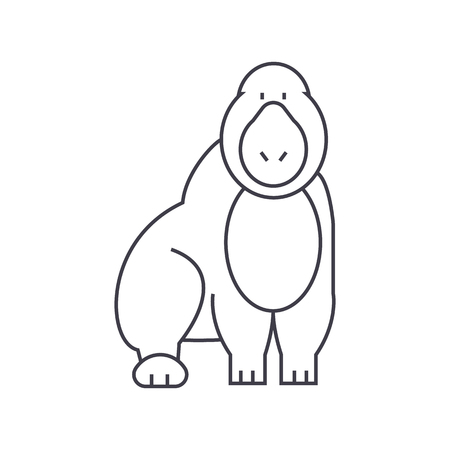 Gorilla vector line icon, sign, illustration on white background. Illustration