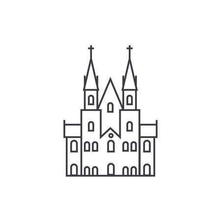 ゴシック様式城ベクトル線アイコン、記号、白い背景の上の図。