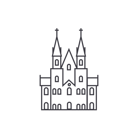 Gothic castle vector line icon, sign, illustration on white background. Иллюстрация