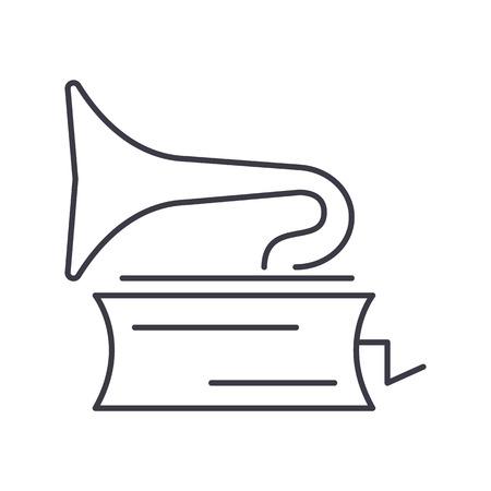 Grammofoon vector lijn icoon, illustratie op een witte achtergrond.