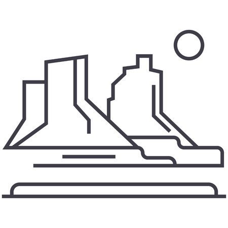 그랜드 캐년 벡터 라인 아이콘, 흰색 배경에 그림.