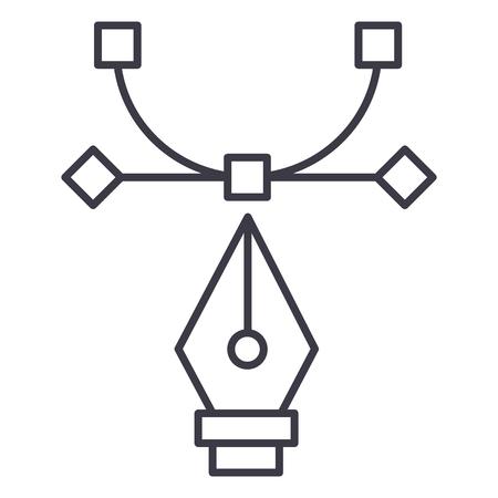 Grafisch hulpmiddel, krommingshulpmiddel, vector de lijnpictogram van het ontwerp, illustratie op witte achtergrond.