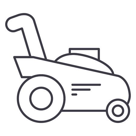 잔디 커터, 원 예 기계 벡터 라인 아이콘, 기호, 흰색 배경에 그림.