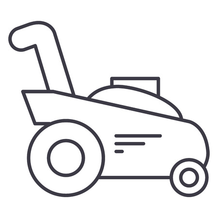 Grassnijder, vector de lijnpictogram van de het tuinierenmachine, teken, illustratie op witte achtergrond.