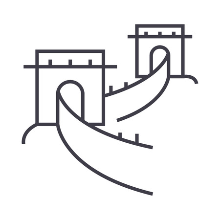 Great wall,china vector line icon, sign, illustration on white background.