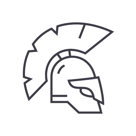 Greece helmet vector line icon, sign, illustration on white background. Иллюстрация