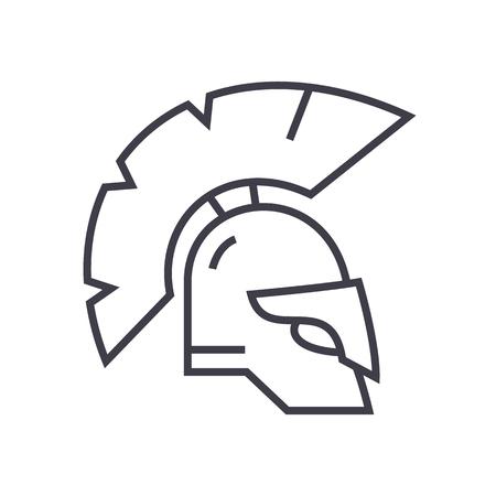 Icône de ligne vecteur casque Grèce, signe, illustration sur fond blanc. Banque d'images - 87222322