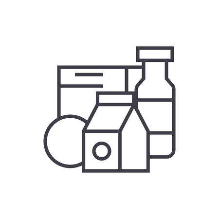 Grocery products,milk, cereals vector line icon, sign, illustration on white background.