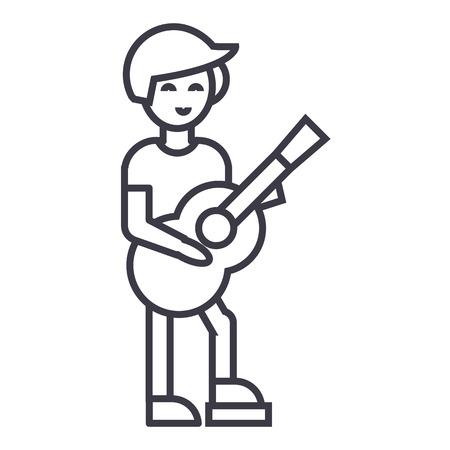 Gitaarspeler, flamenco vector lijn icoon, teken, illustratie op een witte achtergrond.