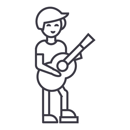 Guitar player, flamenco vector line icon, sign, illustration on white background.