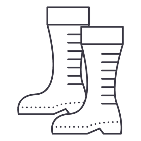 Gumboots vector line icon, sign, illustration on white background.