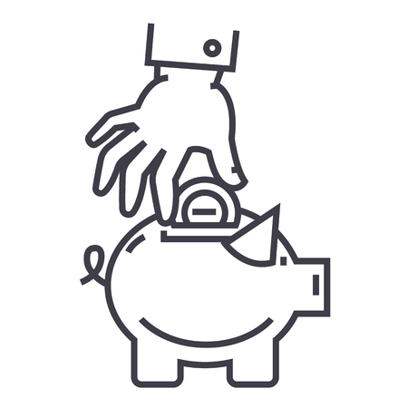 hand put coin in pig bank vector line icon, sign, illustration on white background, editable strokes