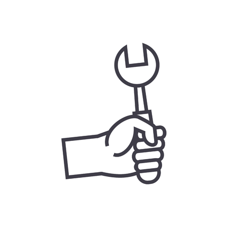 hand with screwdriver vector line icon, sign, illustration on white background, editable strokes