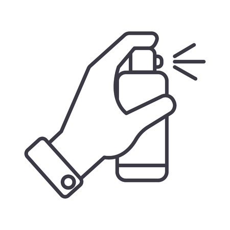 car wash: hand with spray vector line icon, sign, illustration on white background, editable strokes Illustration
