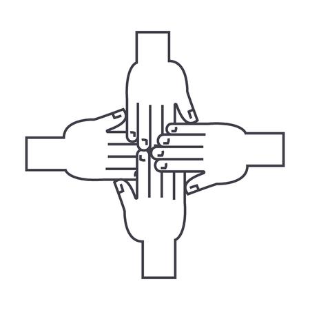 handen samen vector lijn pictogram, teken, illustratie op witte achtergrond, bewerkbare lijnen