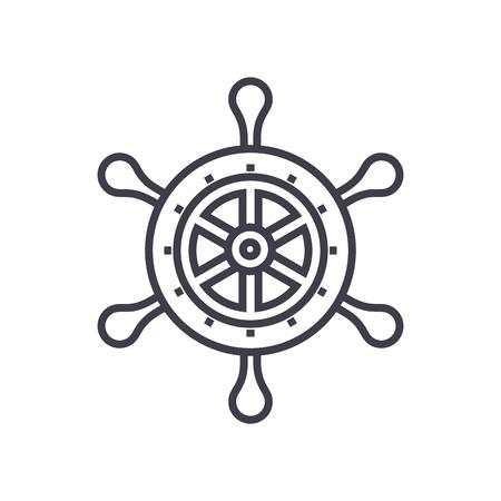 Handrad Vektor Liniensymbol, Zeichen, Illustration auf weißem Hintergrund, bearbeitbare Striche Vektorgrafik