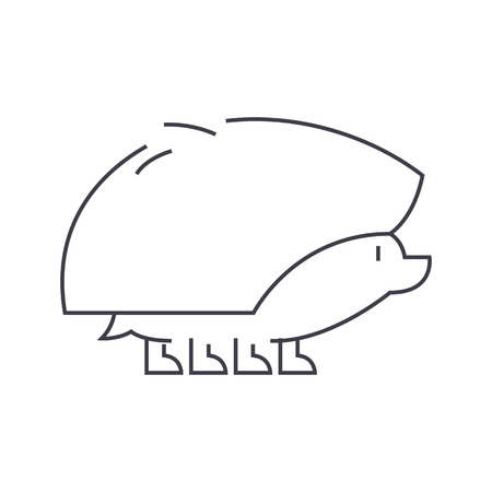 silueta de gato: hedgehog vector line icon, sign, illustration on white background, editable strokes