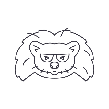 silueta de gato: hedgehog head vector line icon, sign, illustration on white background, editable strokes Vectores