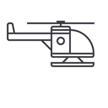 helicopter vector line icon, sign, illustration on white background, editable strokes