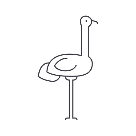 heron vector line icon, sign, illustration on white background, editable strokes