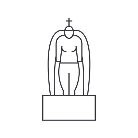 Icono de línea de vector de hinduismo, signo, ilustración sobre fondo blanco, trazos editables Foto de archivo - 87222357