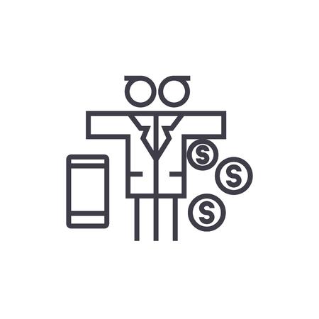 multi tasking man with money vector line icon, sign, illustration on white background, editable strokes