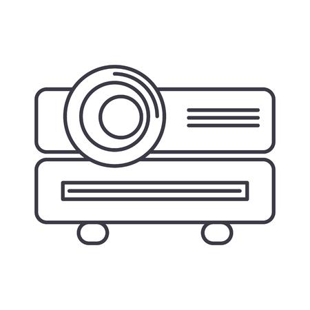 multimedia projector vector lijn pictogram, teken, illustratie op witte achtergrond, bewerkbare lijnen