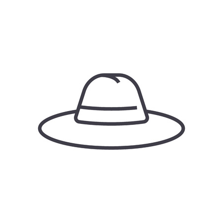 hat vector line icon, sign, illustration on white background, editable strokes Ilustrace