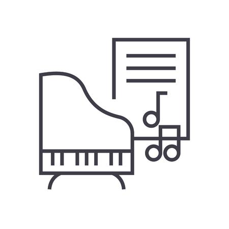 Musica, pianoforte, note musicali icona linea vettoriale, segno, illustrazione su sfondo bianco, tratti modificabili Archivio Fotografico - 87222379