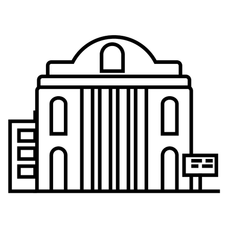museum vector line icon, sign, illustration on white background, editable strokes