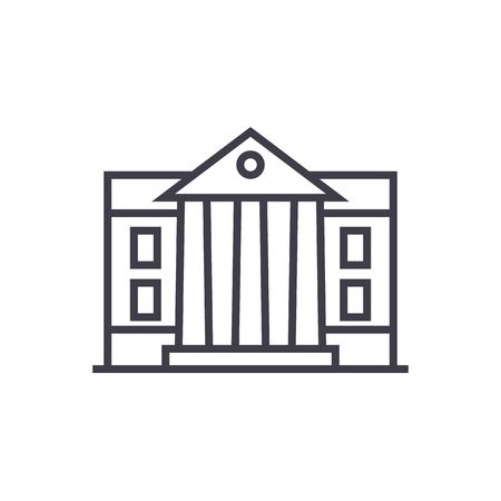 museum,parliament vector line icon, sign, illustration on white background, editable strokes