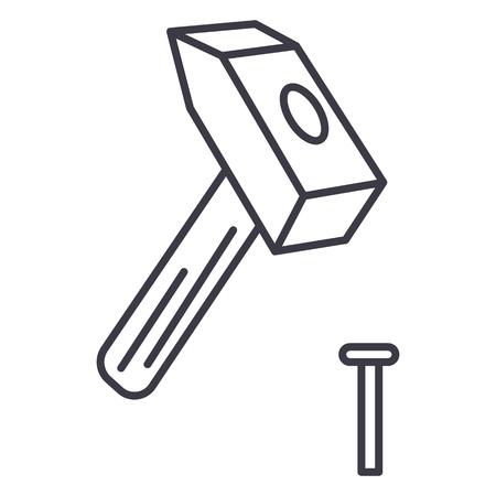 ハンマーのピン ベクトル線アイコン、記号、白い背景に、編集可能なストロークの図