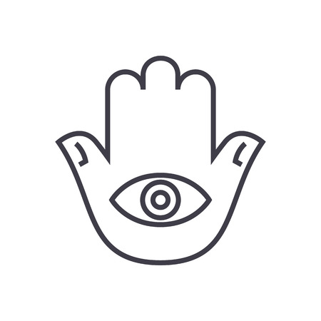 aura energy: hamsa hand vector line icon, sign, illustration on white background, editable strokes