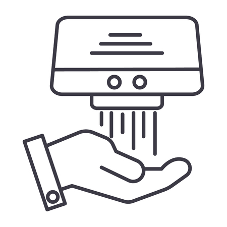 hand dryer vector line icon, sign, illustration on white background, editable strokes