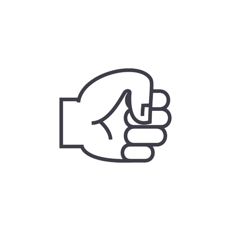 hand fist vector line icon, sign, illustration on white background, editable strokes Ilustração