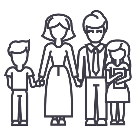 happy family,son, mother, father, daughter vector line icon, sign, illustration on white background editable strokes