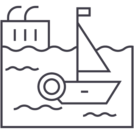 harbor vector line icon, sign, illustration on white background, editable strokes