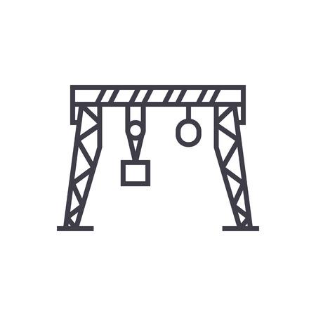 港のクレーン ベクトル線アイコン、記号、白い背景に、編集可能なストロークの図