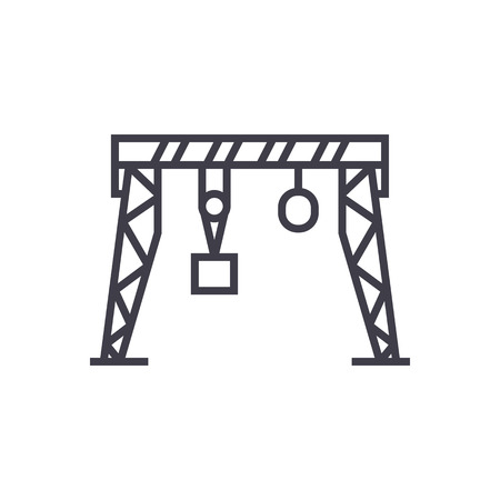 harbour crane vector line icon, sign, illustration on white background, editable strokes 向量圖像