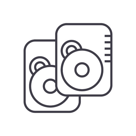 hard disk vector line icon, sign, illustration on white background, editable strokes 向量圖像