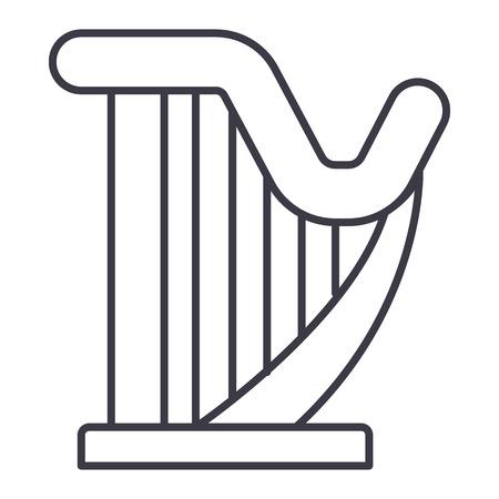 harp vector line icon, sign, illustration on white background, editable strokes Ilustrace
