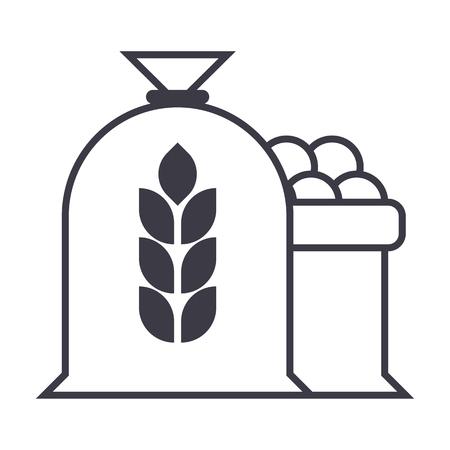 수확 밀 가방 벡터 라인 아이콘, 기호, 흰색 배경에 그림 편집 가능한 획
