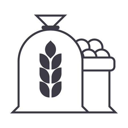 harvest wheat bag vector line icon, sign, illustration on white background, editable strokes Illustration