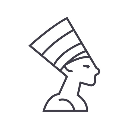 silueta de gato: nefertity,egypt vector line icon, sign, illustration on white background, editable strokes