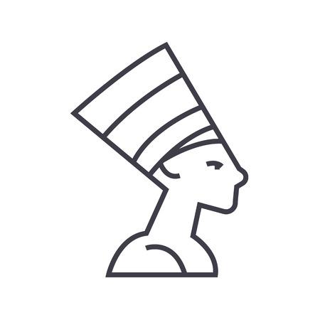 nefertity, Egypte vector lijn icoon, teken, illustratie op een witte achtergrond, bewerkbare streken