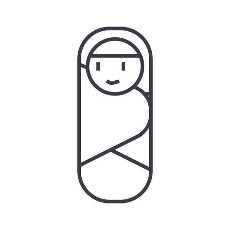 newborn envelope vector line icon, sign, illustration on white background, editable strokes