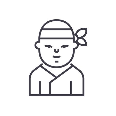 ninja,japanese vector line icon, sign, illustration on white background, editable strokes