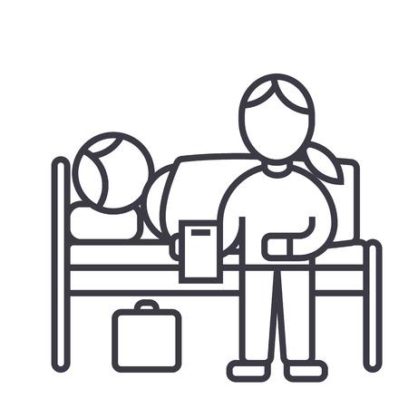 保育園医師病院ベクトル線アイコン、記号、白い背景に、編集可能なストロークの図では、患者に