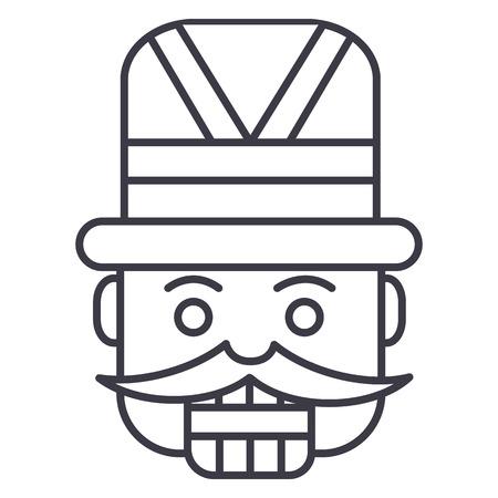 Casse-noix, icône de ligne vecteur de soldat jouet, signe, illustration sur fond blanc, traits modifiables Banque d'images - 87222432