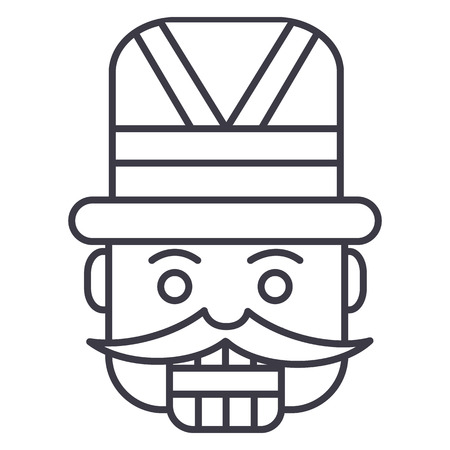 nutcracker,toy soldier vector line icon, sign, illustration on white background, editable strokes Illustration